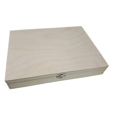 Gładkie pudełka z jodły FSC z pokrywą na zawiasach A4, A5, A6 Naturalne nielakierowane